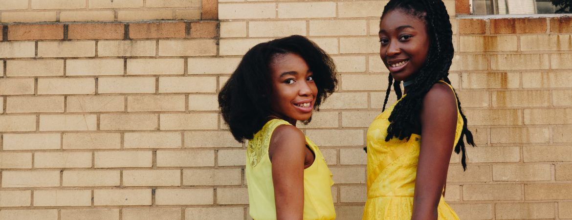 Black Flower Girls in Yellow