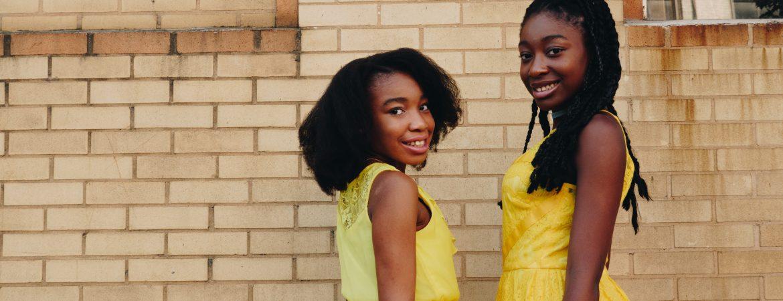 Black Flower Girls in Yellow